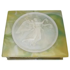 Green Incolay Stone Jewelry Box with Cherub and Angel