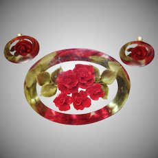 Gorgeous Vintage Reverse Carved Lucite Pin and Earring Set