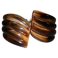 Vintage Brown Ribbbed Clamper Bracelet