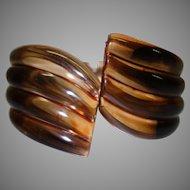 Vintage Brown Ribbbed Clamper Bracelet