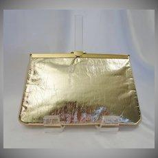 Gold Lame` Convertible Clutch Purse
