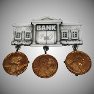 "Vintage ""Bank"" Dangle Pin by J.J."