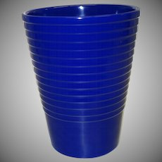 Vintage Ribbed Cobalt Blue Ceramic Vase Made in Germany