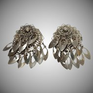 Vintage Silvertone Metal Dangle Earrings