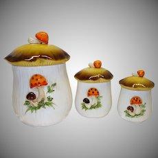 Vintage Sears Merry Mushroom Canister Set c. 1976