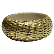 Vintage Gold Tone Metal Woven Bangle Bracelet