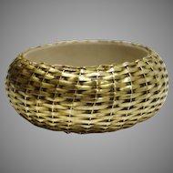 Vintage Gold Tone Metal Woven Bangle Bracelet