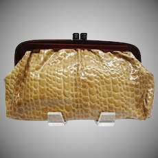 Vintage Extra Large Embossed Glossy Tan Italian Leather Clutch with Lucite Frame