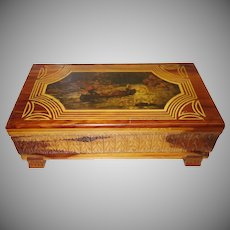 Vintage Carved Cedar Jewelry Box with Decoupage Top