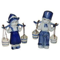 Vintage Ceramic Dutch Boy and Girl Carrying Water Pails Made in Japan