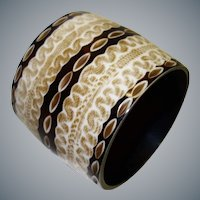 Wide Vintage Laminated Print Resin Bangle Bracelet