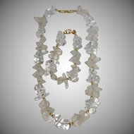 Vintage Napier Clear Lucite Nugget Necklace and Bracelet Set