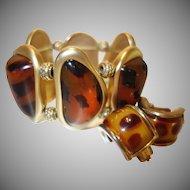 Vintage Faux Tortoiseshell Stretch Bracelet and Earring Set