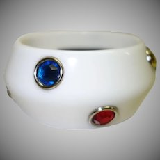 Vintage White Lucite Bracelet with Bezel Set Rhinestones by RJ Graziano