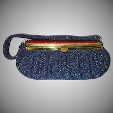 Stunning Blue Carnival Glass Beaded Box Purse with Lucite Top