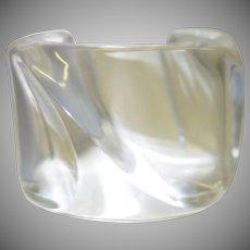 Vintage Clear Sculptural Lucite Cuff Bracelet by Estee Lauder