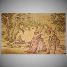 Vintage Belgium Tapestry 1800's French Courting Scene