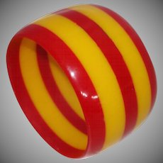 Extra WIDE Red and Goldenrod Striped Resin Bangle Bracelet