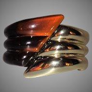 Vintage Transparent Brown and Gold Tone Ribbed Hinge Bracelet
