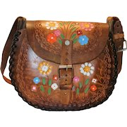 1970's Tooled Leather Child's  Shoulder Purse