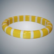 Vintage Opaque Yellow and White Striped Lucite Bangle Bracelet
