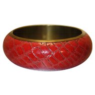 Vintage Red Snakeskin and Brass Bangle Bracelet