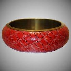 Vintage Red Snakeskin and Brass Bangle Bracelet