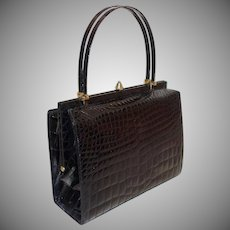Exquisite Vintage Saks Fifth Avenue Black Double Handled Genuine Alligator Handbag Made in France