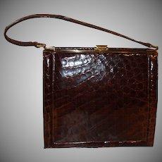 Vintage Deitsch Brown Alligator Frame Handbag
