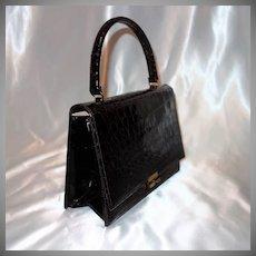 Vintage Bellestone Darkest Brown Alligator Envelope Style Handbag