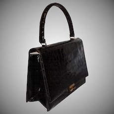 Vintage Bellestone Darkest Brown Alligator Envelope Style Handbag