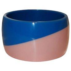 Vintage Wide Pink and Blue Lucite Bangle Bracelet
