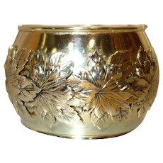 Whiting and Davis HUGE Repousse Gold Tone Metal Hinge Bracelet