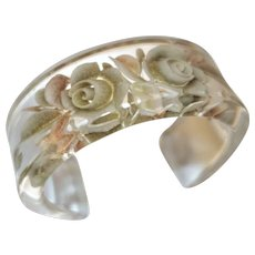 Vintage Clear Lucite Cuff Bracelet with Reverse Carved Flowers