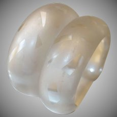 Vintage Clear Frosted Resin Cuff Bracelet