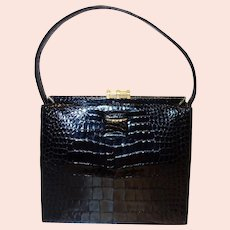 Vintage Lucille De Paris Black Alligator Handbag