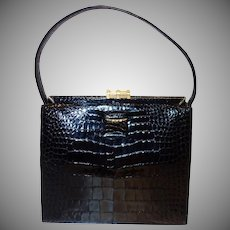 Vintage Lucille De Paris Black Alligator Handbag