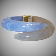 Vintage Marbled Blue and Gray Lucite Bypass Bracelet