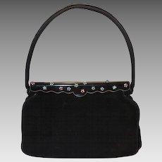 Vintage Black Suede Evening Bag with Jeweled Enamel Frame by Lucille De Paris