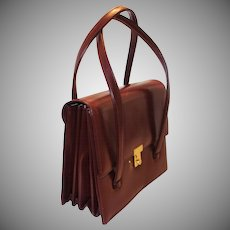 Vintage Burgundy Leather Expansion Purse with Key Made in France for Bloomingdale's