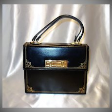 Vintage Italian Leather Black Expansion Purse