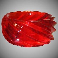 Vintage HUGE Spiral Transparent Red Lucite Bangle Bracelet Made in Western Germany