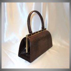 Vintage Brown Bellestone Reptile Handbag with Original Comb, Mirror and Coin Purse