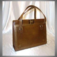 Vintage Large Brown Italian Leather Handbag