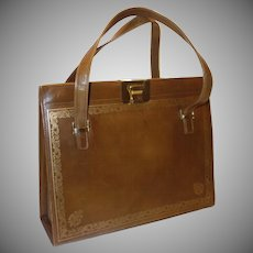 Vintage Large Brown Italian Leather Handbag