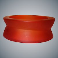 Vintage Frosted Red Lucite Bangle Bracelet