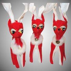 Three Vintage Red Felt Sawdust-Filled Reindeer Made in Japan with Original Tags