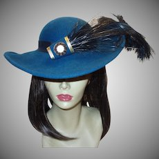 Dramatic Teal Wool Hat by Sonni San Francisco