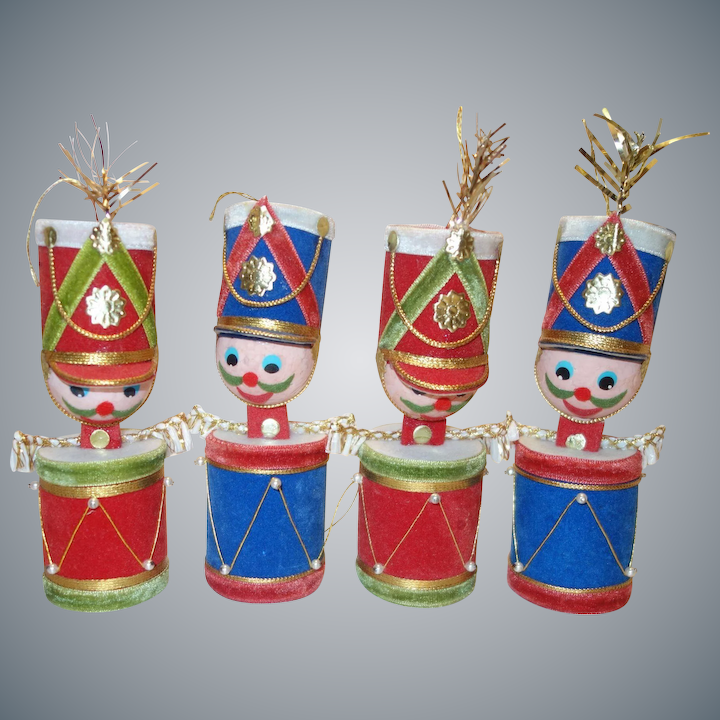 Christmas Drummer.Four Large Drummer Boy Christmas Ornaments Made In Japan