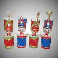 Four Large Drummer Boy Christmas Ornaments Made in Japan